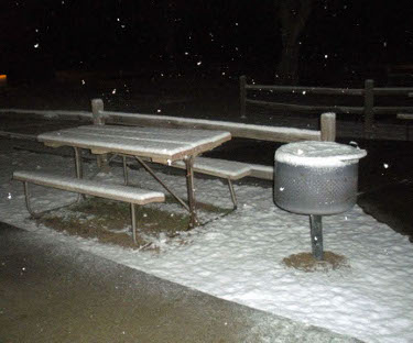 picnic table and fire tub